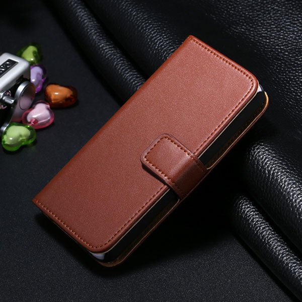 5S Genuine Leather Case For Iphone 5 5S Wallet Cover With Magnetic 1772007304-6-brown