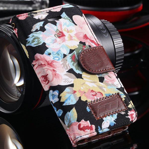 5C Flower Floral Case Deluxe Pu Leather Cover For Iphone 5C Full W 1326465185-2-black