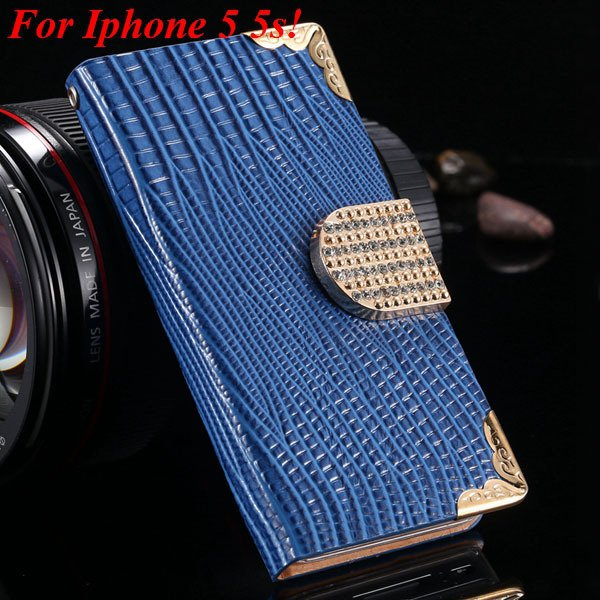 4S 5S Diamond Leather Case For Iphone 5 5S 5G 4 4S 4G Flip Wallet  1892017068-3-blue for 5s