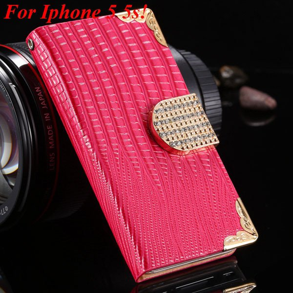 4S 5S Diamond Leather Case For Iphone 5 5S 5G 4 4S 4G Flip Wallet  1892017068-5-hot pink for 5s