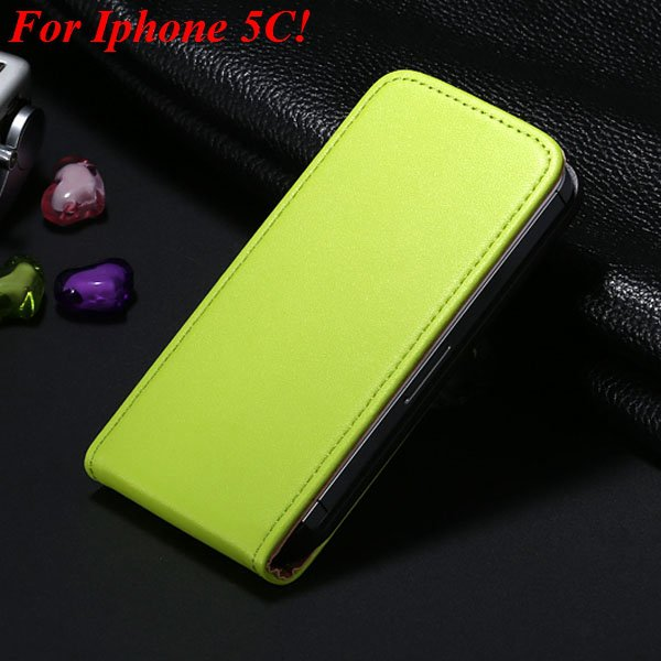 5C Genuine Leather Case Flip Cover For Iphone 5C Vertical Mobile P 1855464865-4-green for 5C