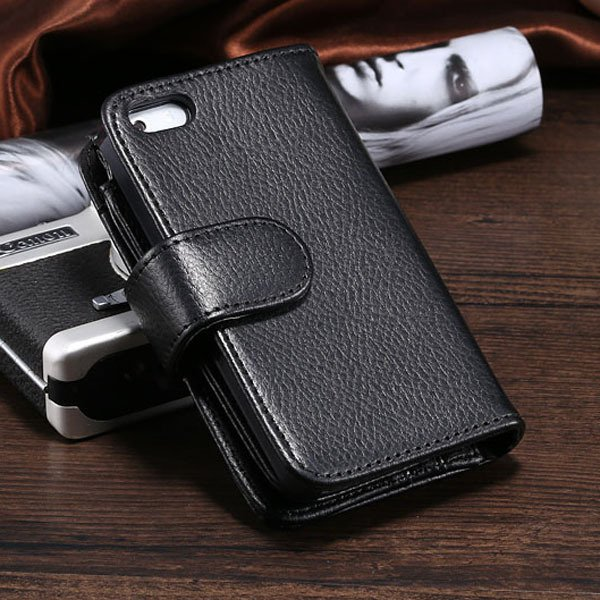 Best Quality Folded Lichi Grain Case For Iphone 5 5S 5G Card Inser 1782816388-1-black