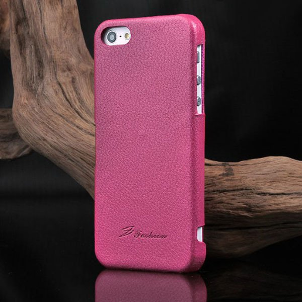 Unique Lychee Pattern Flip Genuine Leather Case For Iphone 5 5S 5G 1003880523-5-hot pink