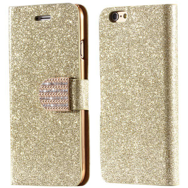 Deluxe Bling Crystal Diamond Pu Leather Bag For Iphone 5 5S 5G Ful 32252095278-3-gold