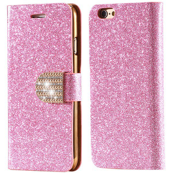 Deluxe Bling Crystal Diamond Pu Leather Bag For Iphone 5 5S 5G Ful 32252095278-5-pink