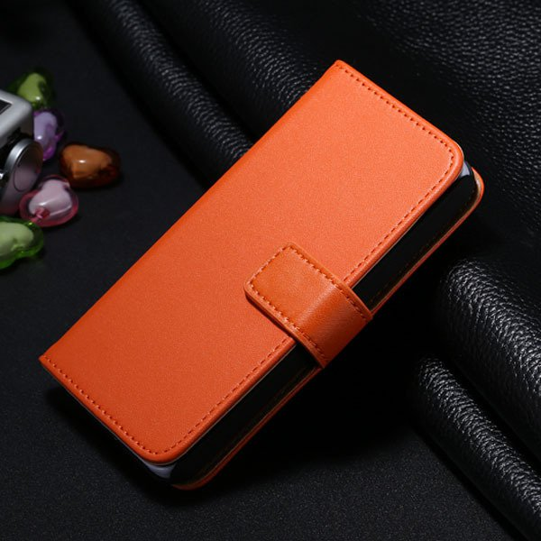 5S Genuine Leather Case Wallet Phone Bag Cover For Iphone 5 5S 5G  1772042030-8-orange