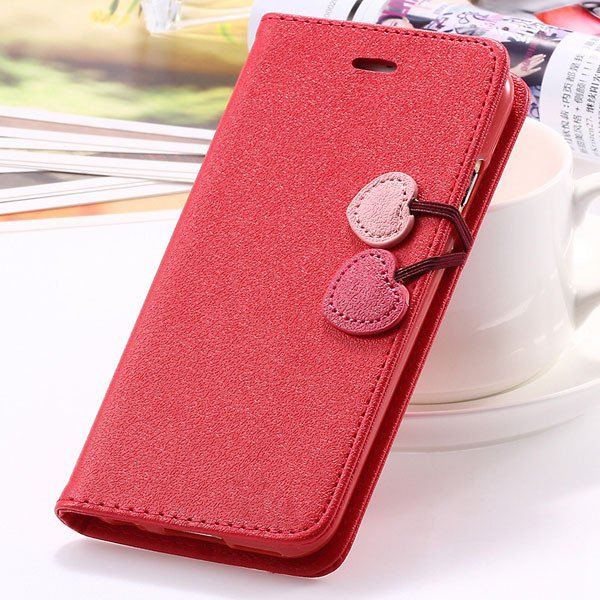 Fashion Flip Heart Case For Iphone 5C Stand Holster Cover Pu Leath 1835380861-4-red
