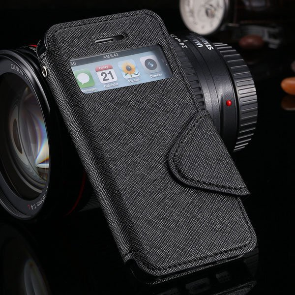 5S Window Case Flip View Cover For Iphone 5 5S 5G Pu Wallet Leathe 1927855633-1-black