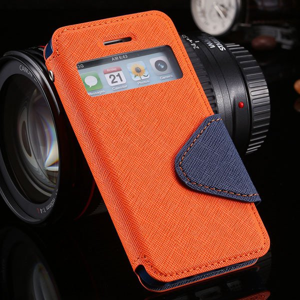 5S Window Case Flip View Cover For Iphone 5 5S 5G Pu Wallet Leathe 1927855633-4-orange