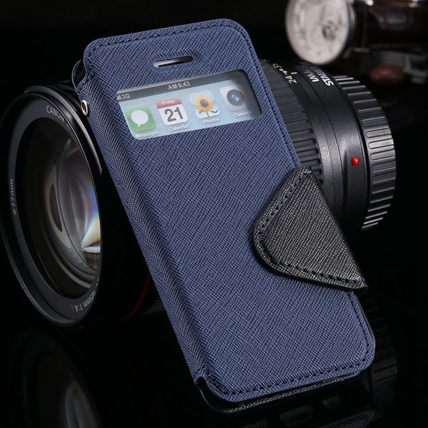 5S Window Case Flip View Cover For Iphone 5 5S 5G Pu Wallet Leathe 1927855633-7-deep blue