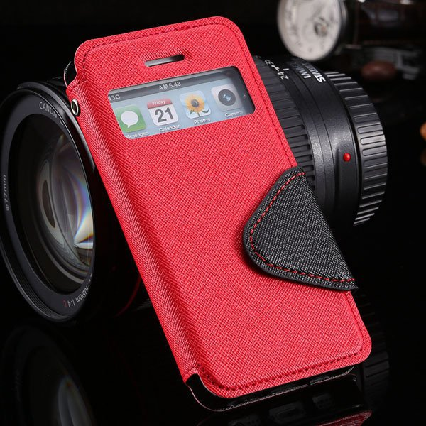 5S Window Case Flip View Cover For Iphone 5 5S 5G Pu Wallet Leathe 1927855633-8-red