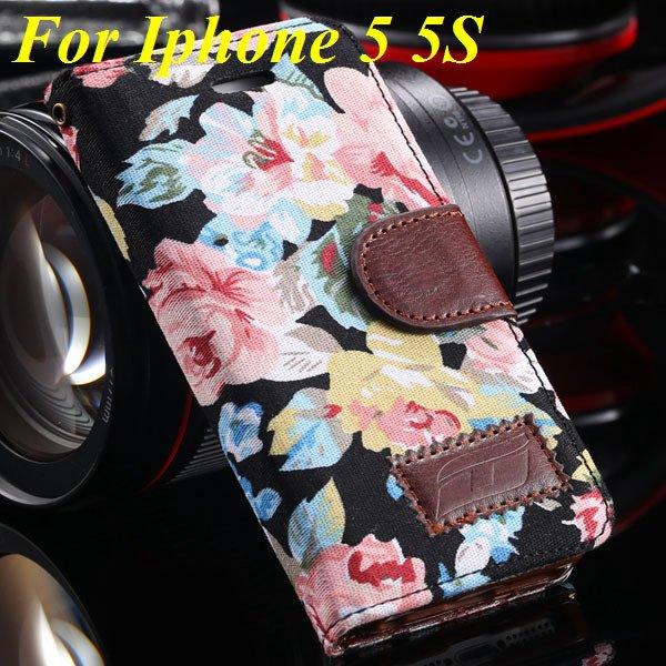 5S Luxury Pu Leather Case Flower Floral Wallet Cover For Iphone 5  1987089090-1-black for 5s
