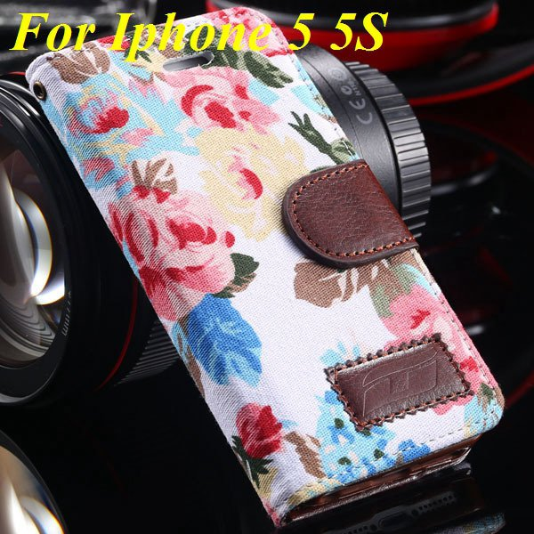 5S Luxury Pu Leather Case Flower Floral Wallet Cover For Iphone 5  1987089090-2-white for 5s