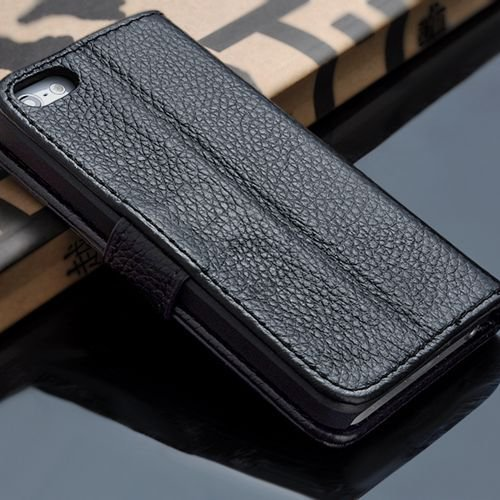 5S Luxury Original Genuine Leather Case For Iphone 5 5G Wallet Fli 1009156720-1-black
