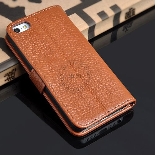 5S Luxury Original Genuine Leather Case For Iphone 5 5G Wallet Fli 1009156720-4-brown
