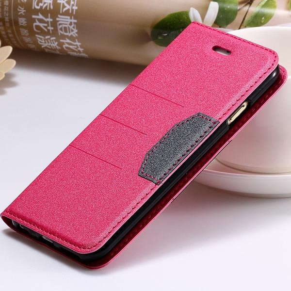 Full Leather Case For Iphone 5 5S 5G Flip Cover Mat Style With Sta 32247141210-4-hot pink