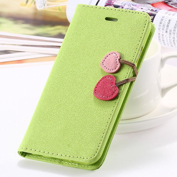 Colorful Heart Case For Iphone 5C Flip Wallet Pu Leather Magnetic  1835327708-1-green for 5C