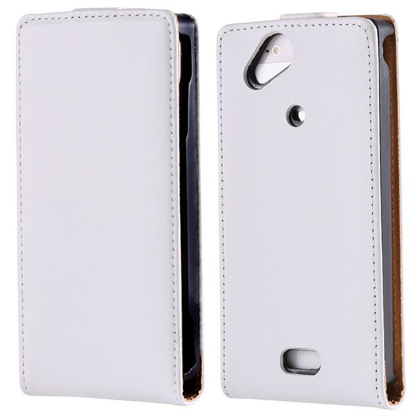 Genuine Leather Flip Cover For Sony Ericsson X12 Xperia Arc Lt15I  1383415975-2-white