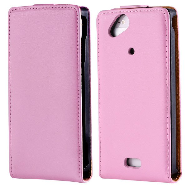 Genuine Leather Flip Cover For Sony Ericsson X12 Xperia Arc Lt15I  1383415975-3-pink