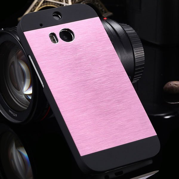 M8 Luxury Aluminum Case Metal Brush Back Cover For Htc One M8 Dual 1273815161-4-pink