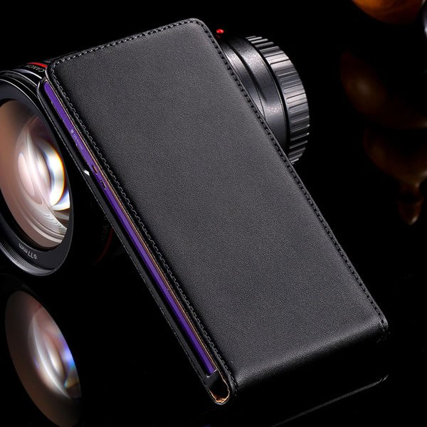 100% Real Full Genuine Leather Case For Sony Xperia Z L36H Flip Ce 32240219105-1-black