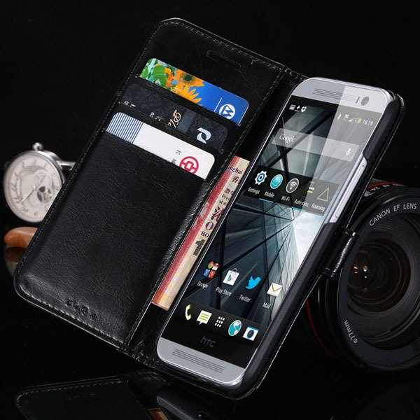 M8 Flip Wallet Case For Htc One M8 Full Pu Leather Cover With Stan 1877666152-1-black