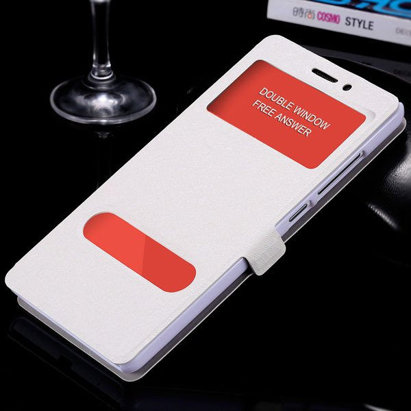 For Hongmi Note Luxury Pu Leather Case Free Answer Dual Window Dis 32283822182-2-silver