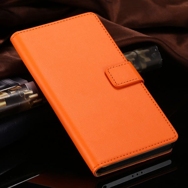 Hot Genuine Leather Wallet Case For Sony-Ericsson Xperia Z2 D6503  1821664329-6-orange