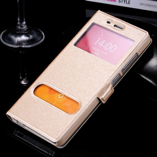 Mi4 Window View Case Free Answer Luxury Silk Pu Leather Cover For  32284067998-3-gold