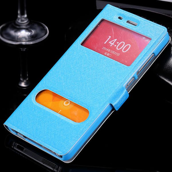 Mi4 Window View Case Free Answer Luxury Silk Pu Leather Cover For  32284067998-4-sky blue