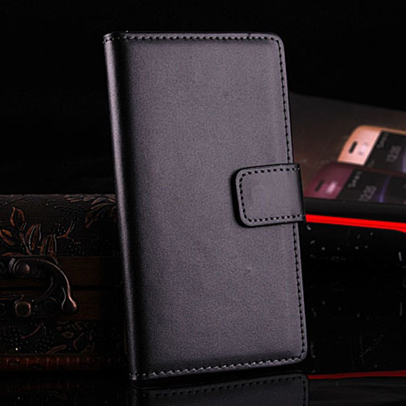 Genuine Leather Case For Sony Ericsson Xperia Z L36H Flip Cover Wi 32264415085-1-black