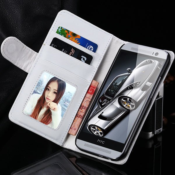 M8 Wallet Case Luxury Flip Cover With Magnetic Buckle Protect For  1868340559-3-white