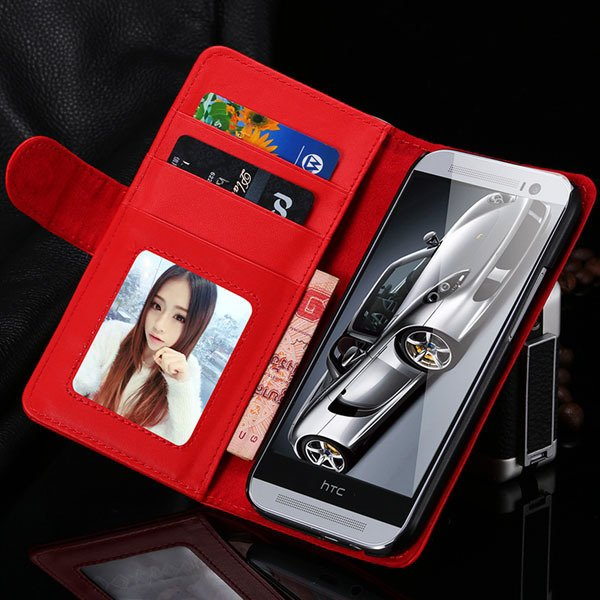 M8 Wallet Case Luxury Flip Cover With Magnetic Buckle Protect For  1868340559-4-red
