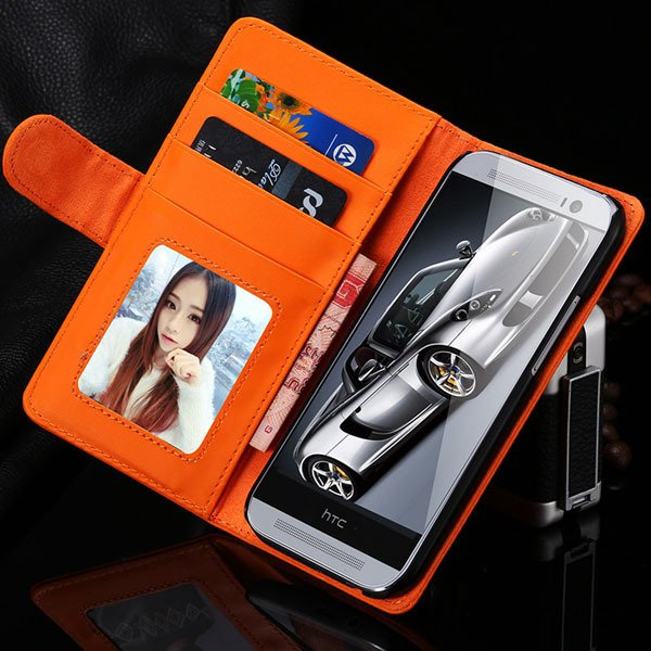 M8 Wallet Case Luxury Flip Cover With Magnetic Buckle Protect For  1868340559-10-orange