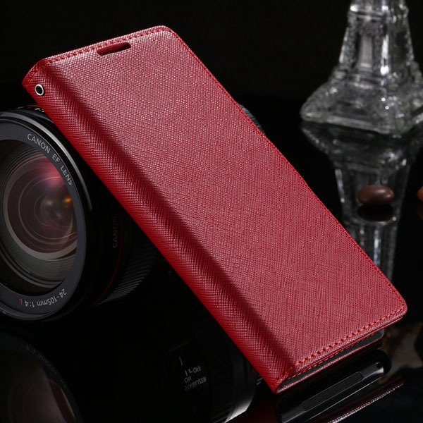 Cross Grain Genuine Leather Case For Sony-Ericsson Xperia Z2 D6503 1879216741-3-red