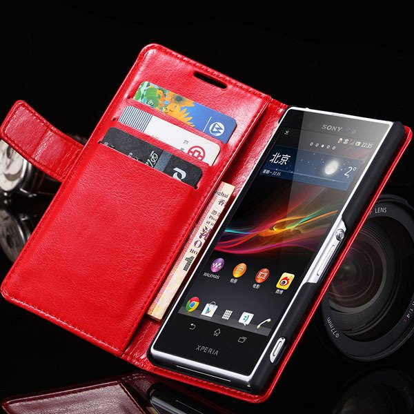Z2 Flip Case For Sony-Ericsson Xperia Z2 Pu Leather Wallet Bag For 32263484703-3-red