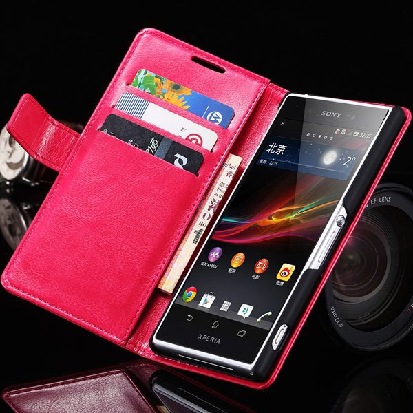 Z2 Flip Case For Sony-Ericsson Xperia Z2 Pu Leather Wallet Bag For 32263484703-4-hot pink