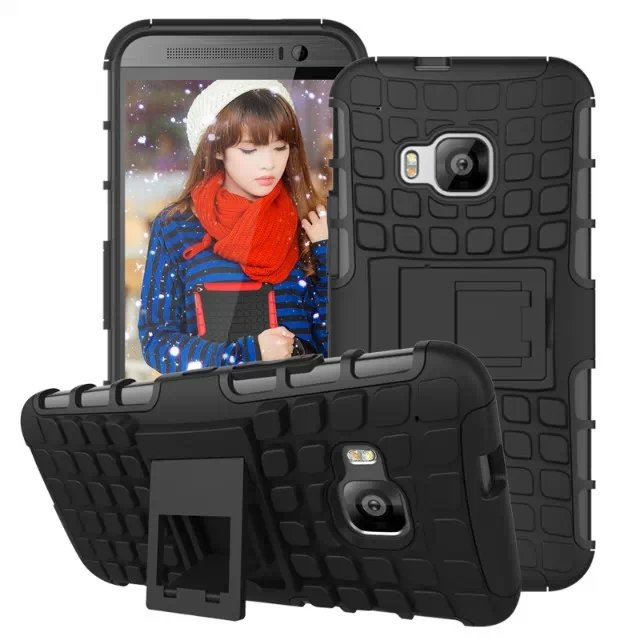 M9 Armor Case Heavy Duty Hard Cover Case For Htc One M9 Dual Layer 32297406417-1-black