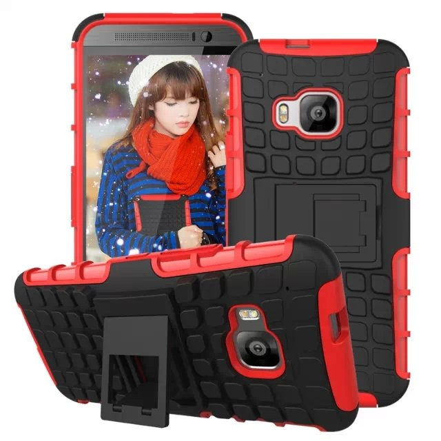 M9 Armor Case Heavy Duty Hard Cover Case For Htc One M9 Dual Layer 32297406417-3-red