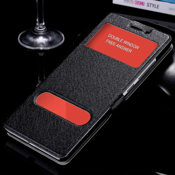 For Hongmi Note Flip Wallet Cover Free Answer Double Window View C 32283925859-1-black
