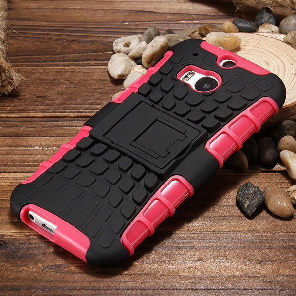 M8 Armor Heavy Duty Hard Cover Case For Htc One M8 Dual Layer Sili 32294281901-1-pink