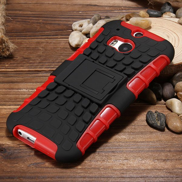 M8 Armor Heavy Duty Hard Cover Case For Htc One M8 Dual Layer Sili 32294281901-5-red