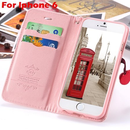 Newest Girl'S Cute Cherry Leather Case For Iphone 6 & Iphone 6 Plu 32214517740-5-Pink For Iphone 6