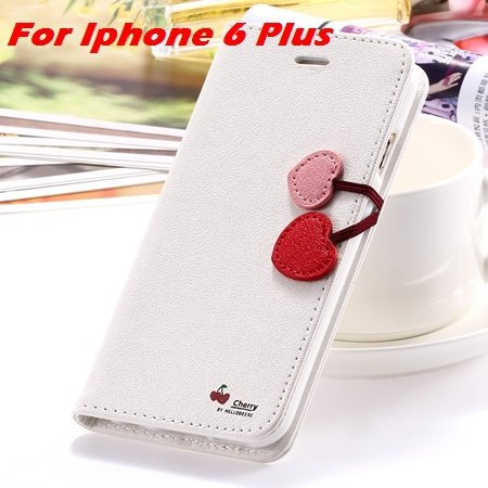 Newest Girl'S Cute Cherry Leather Case For Iphone 6 & Iphone 6 Plu 32214517740-8-White For I6 Plus