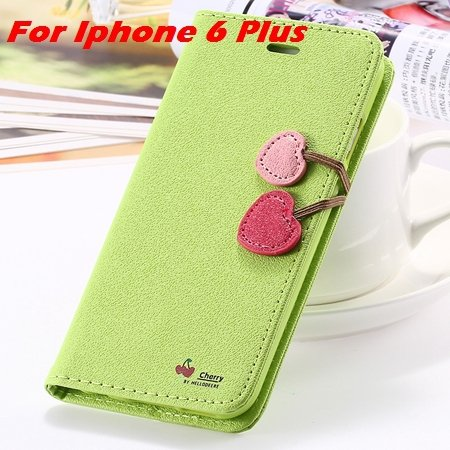 Newest Girl'S Cute Cherry Leather Case For Iphone 6 & Iphone 6 Plu 32214517740-10-Green  For I6 Plus