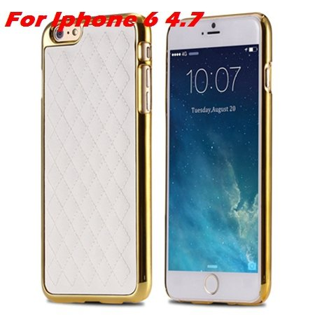 Newest Luxury Retro Gold Pc Plating Linear Ex Case For Iphone 6 4. 32226725265-2-I6  White and Gold