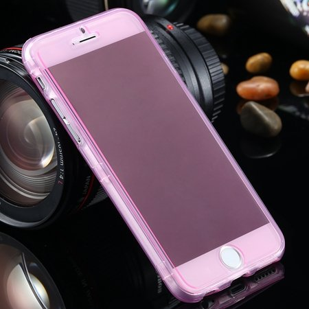 "Ultra Light Transparent Slim Tpu Soft Flip Case For Iphone 6 4.7""""  2032639495-9-Pink"