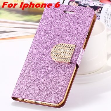 For Iphone 6 Case Gold Luxury Bling Diamond Leather Case For Iphon 32258181305-6-Purple For Iphone 6