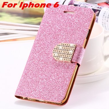 For Iphone 6 Case Gold Luxury Bling Diamond Leather Case For Iphon 32258181305-7-Pink For Iphone 6