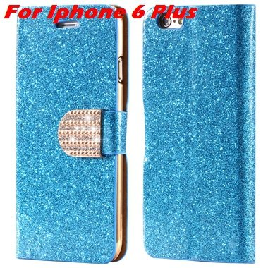 For Iphone 6 Case Gold Luxury Bling Diamond Leather Case For Iphon 32258181305-8-Blue For I6 Plus